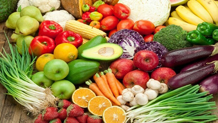 Chế độ ăn tăng rau xanh và hoa quả chín