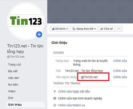 sửa tên người dùng facebook để tạo live chat
