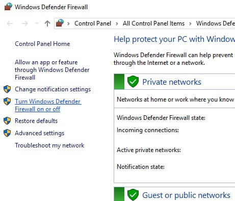 window defender firewall
